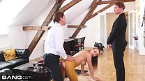 Timea Bela gets a double penetration through her crotchless stockings Thumbnail