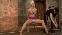 Gagged blonde lesbian Courtney Taylor gets big boobs tied th