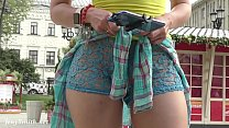 Sexy girl flashing her pussy on the street. Rea...