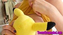 Cosplaying teen rubs pussy before getting plowe...