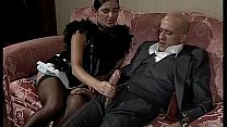 Woman in skirt/dress and stokings sucks and fuc...