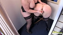 Mature lesbians got to sex shop to test some toys