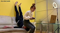 Cute Young Gamer-Girl In Tight Yoga Pants - Use...