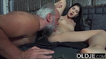 Teen college classmate is a slut and fucks the old professor she gives a great blowjob's Thumb