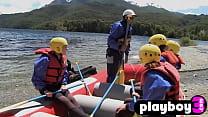 Hot teens enjoying amazing water games