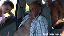 Street Whore Fucked by Son, Grandpa and Uncle