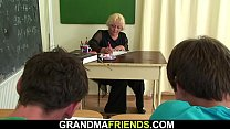 Granny teacher gets double dicked by young boys