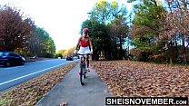 Outdoors Flashing Ass Bike Ride Sexy Up Skirt H...