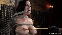 Big tits and hairy pussy brunette is tied to a ...