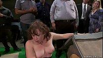 Hot brunette slut Alexxa Bound playing dog at p...