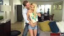 Young tiny stepdaughter gets slammed by her ste...