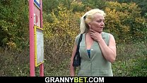 Hairy blonde grandma is picked up and fucked