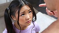 Teenie asian with ponytails messing around in t...