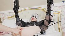 Cosplay girl loves to be tied up and teased her...