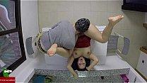 Hot couple masturbating on the kitchen table IV