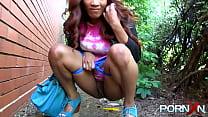 Naughty redhead ebony babe Kiki Minaj flashing ...