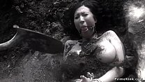 Monster tits brunette babe in bondage gets nipples clamped and pussy vibrated