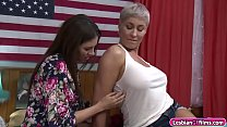 Busty milf Ryan Keely and her brunette room mat...