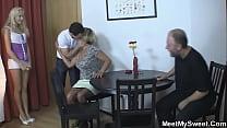 An adult couple seduced a beauty into a threesome