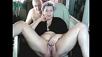 Bearded daddy shows his bitch wife's pussy to t...