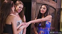 Hot blonde teen lesbians massage and fingering ...