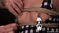 Watch Redhead teen in threesome rough fucked as slave training preview