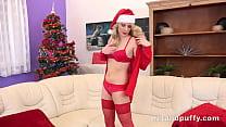 Santas hot slut fingers her tight pussy Thumbnail