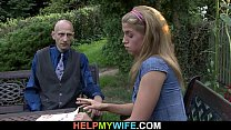 Old husband share his young wife