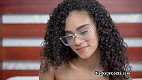 Super cute and sexy chocolate teen on white dick