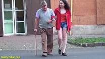 lucky grandpa enjoys his first fucking with a c...