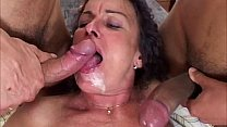Chubby milf fucked by two hungry cocks