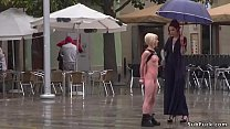 Blonde spinner slave Nora Barcelona walked and ...
