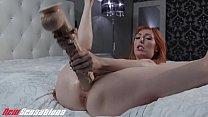 Busty Redhead MILF Fucks Huge Dildos