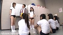 The group of gym girls is blowing and riding bi...