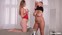 Busty lesbian Krystal Swift bangs her top-heavy...