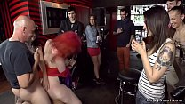 Busty and big ass redhead slave in crowded bar ...