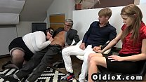 Grandma shows step niece how to suck an old dick