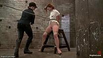 Gagged redhead beauty slave Jodi Taylor in sitting bondage g