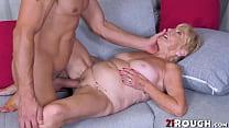 Broke granny deepthroats young landlord