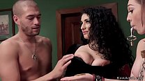 Butler trains brunette slave while riding Sybia...