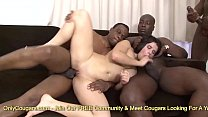 Busty brunette Mira Cuckold fucking four black ...