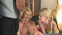 She toying her BF's m. pussy and sucks dad's cock