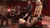Blonde sub Amanda Tate in doggy position with h...