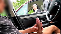 This nun stops on the highway and sees a big co...