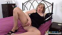 Horny mature lady Auntie Trisha play with sex toys