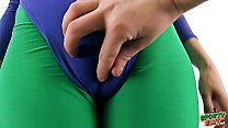 AMAZING BUTT BRUNETTE and  CAMEL-TOE In Super-T...