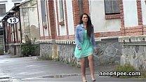 Teen girls pissing in public