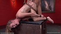Tied wrists to a wall gimp slave Mona Wales get...