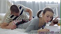 Tiny teen slut rides dick and gets little ass c...