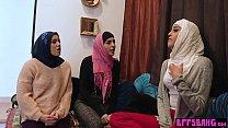 Busty Arab babes fucking a massive Arab dick